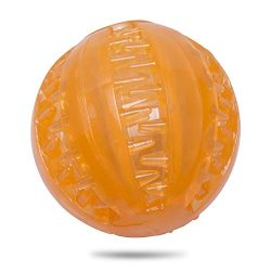 Petaste CWWJ001 Toys, TRP Durable Squeaky, IQ Treat Tooth Cleaning Ball for Dog Training and Playing, Orange