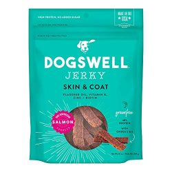 DOGSWELL Skin & Coat 100% Meaty Dog Treats Biotin & Zinc, Grain Free & Made in USA, Salmon Jerky 10 oz