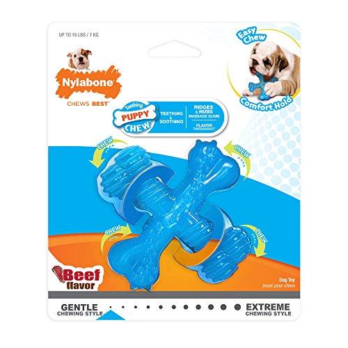 Nylabone Puppy Chew X Bone Beef Chew Toy, X-Small