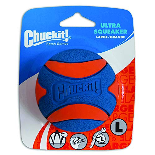 Chuckit! Ultra Squeaker Dog Ball High Bounce Blue/Orange 3 sizes
