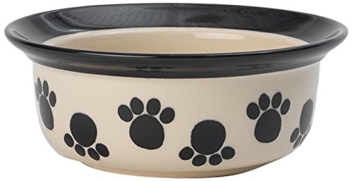 PetRageous 14026 Paws n' Around Black 2 Cups Bowl