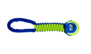 ZEUS K9 Fitness Dog Toys Tennis Ball Rope Tug, Tough Nylon Construction Works for Playing Fetch or Tug