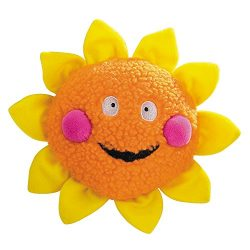 Zanies Smiling Sun Dog Toys, Orange Sun, 8″