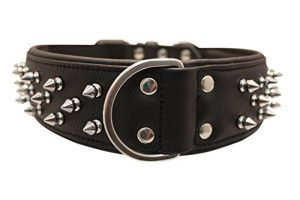 Spiked Studded Leather Dog Collar, Wide, Padded, Double-Ply, 28″ x 2″, Black, Leather (Amsterdam) Great Dane, Bull Mastiff