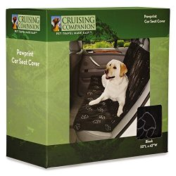 Cruising Companion Pawprint Car Seat Covers — Polyester Covers that Protect Cars from Dog-Related Debris, Black
