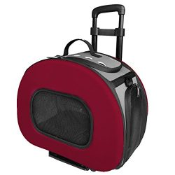 PET LIFE 'Final Destination' Airline Approved 2-in-1 Tough-Shell Wheeled Collapsible Travel Fashion Pet Dog Carrier Crate, One Size, Red