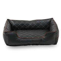 Happycare Textiles Luxury All Sides Faux leather Rectangle Pet Bed.  Black color, 26×18 inches