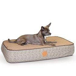 K&H Pet Products Superior Orthopedic Pet Bed Small Mocha Paw/Bone Print 20″ x 30″