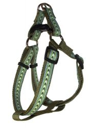Hamilton SHA RO SM STGN Outdoorsman Collection Stripe on Green Pattern Adjustable Easy On Dog Harness, 5/8 by 12 to 20-Inch