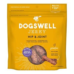 DOGSWELL Hip & Joint 100% Meat Dog Treats, Grain Free, Glucosamine Chondroitin & Omega 3, Duck Jerky 20 oz