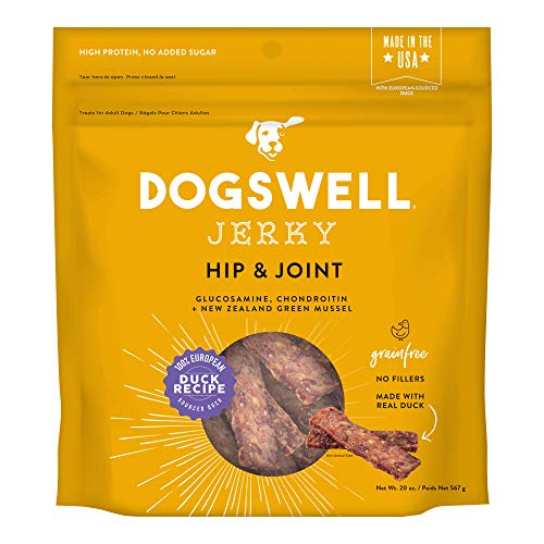 DOGSWELL Hip & Joint 100% Meat Dog Treats, Grain Free, Glucosamine Chondroitin & Omega 3, Duck Jerky 20 oz