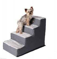 Pet Progressions by K&H 4 Step Pet Stairs Grey – Pet Ramp | Pet Ladder | Pet Steps – Lightweight Pet Stairs for Dogs & Cats