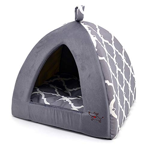 Linen Tent Bed for Pets – Gray Lattice, X-Large