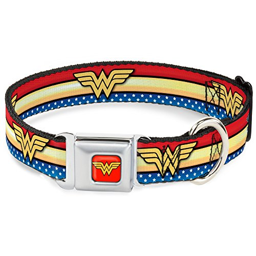 Buckle Down Seatbelt Buckle Dog Collar – Wonder Woman Logo Stripe/Stars Red/Gold/Blue/White – 1″ Wide – Fits 15-26″ Neck – Large