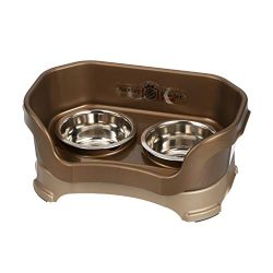 Neater Feeder Deluxe Small Dog (Bronze) – The Mess Proof Elevated Bowls No Slip Non Tip Double Diner Stainless Steel Food Dish with Stand