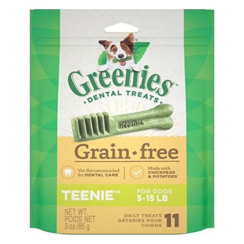 Greenies Dental Treats Grain-Free Made with Chickpeas & Potatoes Teenie for Dogs 5-15 LB (1-Bag) (11 Treats)