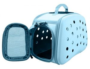 PET LIFE 'Narrow Shelled' Perforated Lightweight Collapsible Military Grade Fashion Designer Travel Pet Dog Carrier Crate, Light Blue, One Size