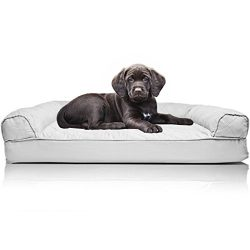 FurHaven Pet Dog Bed | Orthopedic Quilted Sofa-Style Couch Pet Bed for Dogs & Cats, Silver Gray, Small