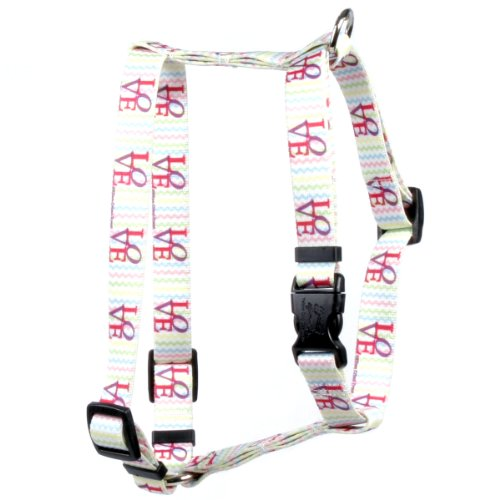 Yellow Dog Design Love Roman Style H Dog Harness 1″ Wide and Fits Chest Circumference of 20 to 28″, Large
