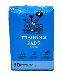 Wags & Wiggles Training Pads For Dogs, 30 Count | Puppy Pee Pads For Dogs | Dog and Puppy Supplies