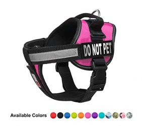 Dogline Vest Harness for Dogs and 2 Removable Do Not Pet Patches, Large/28 to 38″, Pink