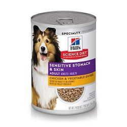 Hill's Science Diet Wet Dog Food, Adult, Sensitive Stomach & Skin, Chicken & Vegetable Entrée, 12.8 oz, 12-pack