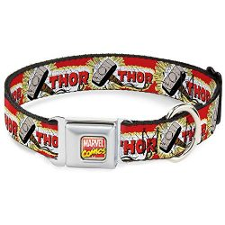 Buckle Down Seatbelt Buckle Dog Collar – Thor & Hammer Red/Yellow/White
