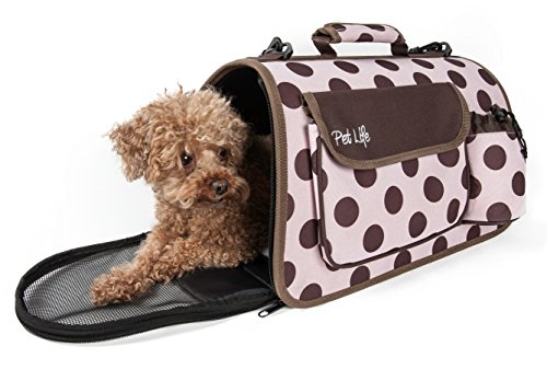PET LIFE Folding Zippered Casual Airline Approved Fashion Travel Pet Dog Carrier with Bottle Holder, Large, Plaid
