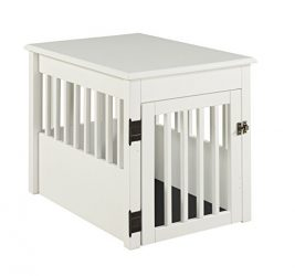 BarkWood Pet Crate End Table – White Finish