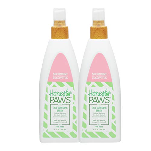 Honest Paws Natural Itch Soothing Spearmint Eucalyptus Spray for All Dogs and Puppies with Itchy Skin, Anti-Itch Dog Spray, Pack of 2