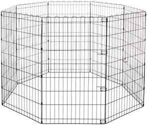 AmazonBasics Foldable Metal Pet Exercise and Playpen, 42″
