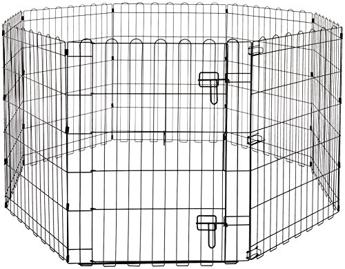AmazonBasics Foldable Metal Pet Exercise and Playpen with Door, 30″