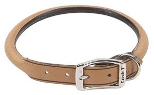 Coastal Pet Products DCP120620TAN Leather Circle T Oak Tanned Round Dog Collar, 20 by 3/4-Inch, Tan
