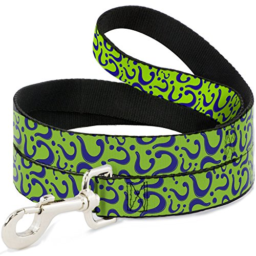 "Buckle Down ""Question Mark Scattered Lime Green/Purple Dog Leash, 6′"