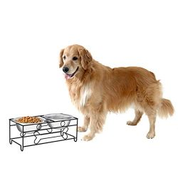 "PETMAKER Stainless Steel Raised Food & Water Bowls with Decorative 6.5"" Tall Stand for Dogs & Cats-2 Bowls, 40oz Each-Elevated Feeding Station"