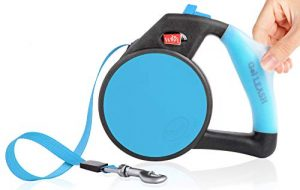 Dog Leash – Retractable Gel Pet Leash – World's Most Comfortable Handle – Blue Small