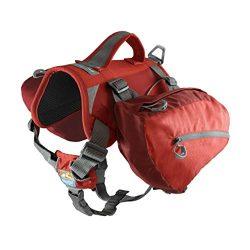 Kurgo Big Baxter Dog Backpack, Dog Saddlebag, Dog Pack, Adjustable Saddlebag for Hiking, Walking, Running, Camping, Chili Red/Barn Red