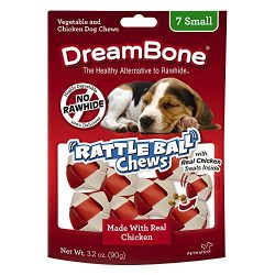Dreambone Chicken Rattle Ball Dog Chew, Rawhide Chews, Small, 7-Count