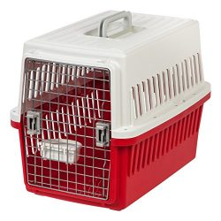 IRIS USA Medium Deluxe Pet Travel Carrier, Red, 26-Inch