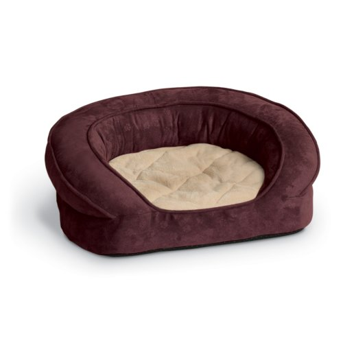 K&H Pet Products Deluxe Ortho Bolster Sleeper Pet Bed Medium Eggplant Paw Print 30″