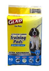 Glad for Pets Ultra-Absorbent Activated Carbon Dog Training Pads With Folded Edges | Puppy Pee Pads, 40 Count