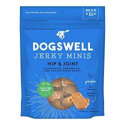 DOGSWELL Hip & Joint 100% Meat Dog Treats, Grain Free, Glucosamine Chondroitin & Omega 3, Chicken MINI Jerky 4 oz