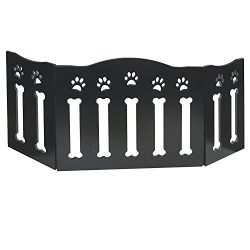 Etna Wooden Paws and Bones Pet Dog Gate – Free Standing Tri-Fold – 19″ Tall 47″