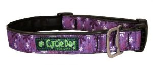 Cycle Dog Bottle Opener Recycled Dog Collar, Purple Retro Flowers, Large