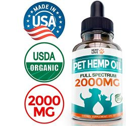 Organic Hemp Oil for Dogs & Cats – 2000mg – Premium Hemp Extract – Anxiety Relief for Dogs – Grown & Made in USA – Omega 3, 6 & 9 – Supports Hip & Joint Health – Natural Relief for Pain