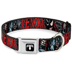 Buckle Down Seatbelt Buckle Dog Collar – Venom Action Pose/Capital Punishment Cover Pose/Web Black/White/Red