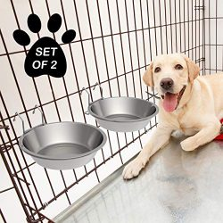 PETMAKER Stainless-Steel Hanging Pet Bowls for Dogs & Cats-Cage, Kennel, Crate Large Feeder Dishes for Food & Water-Set of 2, 48oz Each