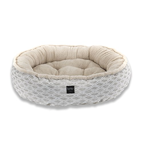 Home Dynamix Nicole Miller Comfy Pooch Dog Bolster Bed 30″Round Bolster Bed Beige Lattice