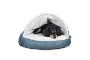 FurHaven Pet Dog Bed | Cooling Gel Memory Foam Orthopedic Round Faux Sheepskin Snuggery Pet Bed for Dogs & Cats, Blue, 26-Inch