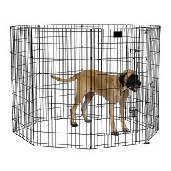 MidWest Foldable Metal Exercise Pen / Pet Playpen, Black w/ door, 24″W x 48″H
